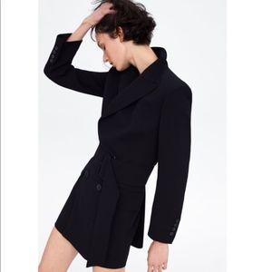 NWT Zara Belted Blazer Black Dress Small